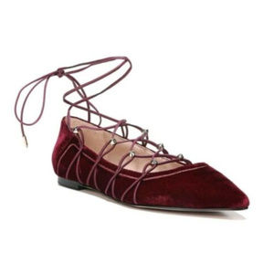 Sam Edelman Rockwell Red Velvet Lace Pointed Flats